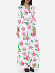 Bohemian Floral Printed Captivating V Neck Maxi-dress