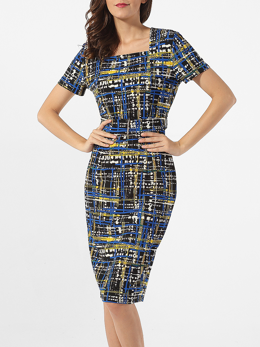 Square Neck Plaid Printed Bodycon-dress