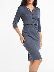 ... Decorative Buttons Asymmetric Neckline Dacron Plain Bodycon-dress ...