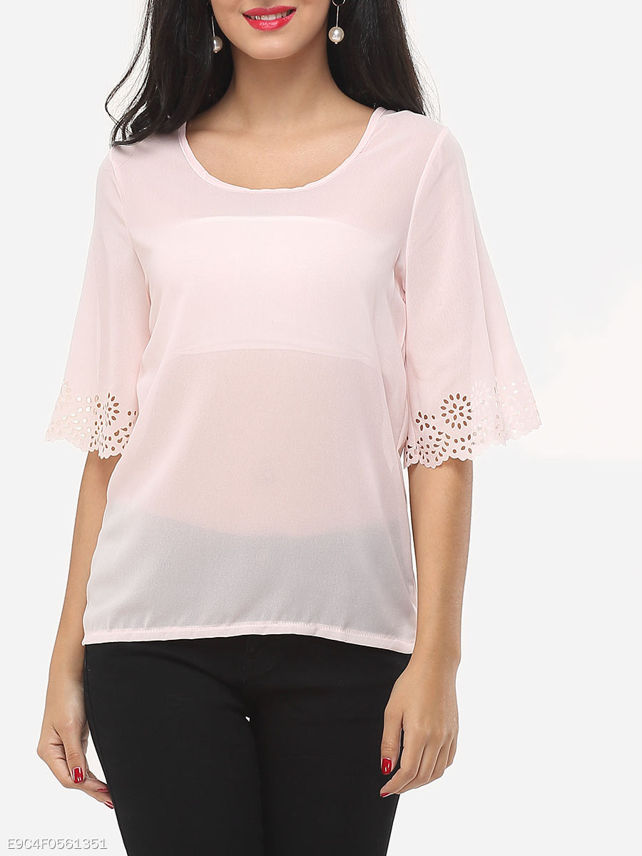 Plain Courtly Round Neck Blouse
