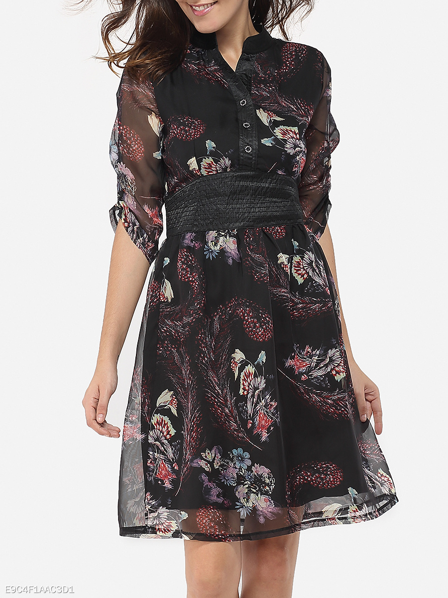 Band Collar Chiffon Floral Printed Skater Dress