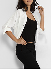 V Neck Single Breasted Slit Pocket Plain Roll-up Sleeve Jackets