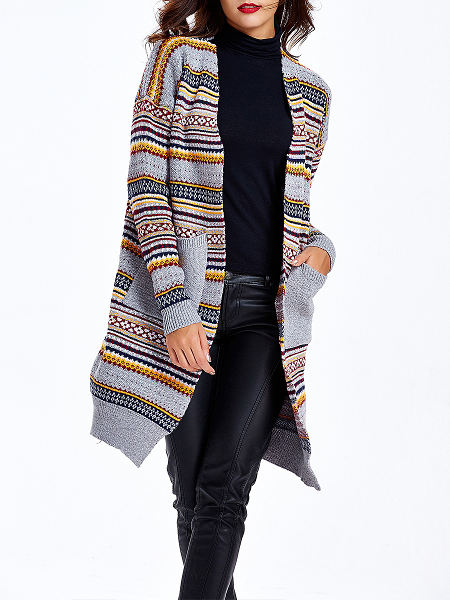 Collarless Striped Pockets Cardigan
