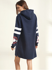 Drawstring Printed Side Slit Hoody