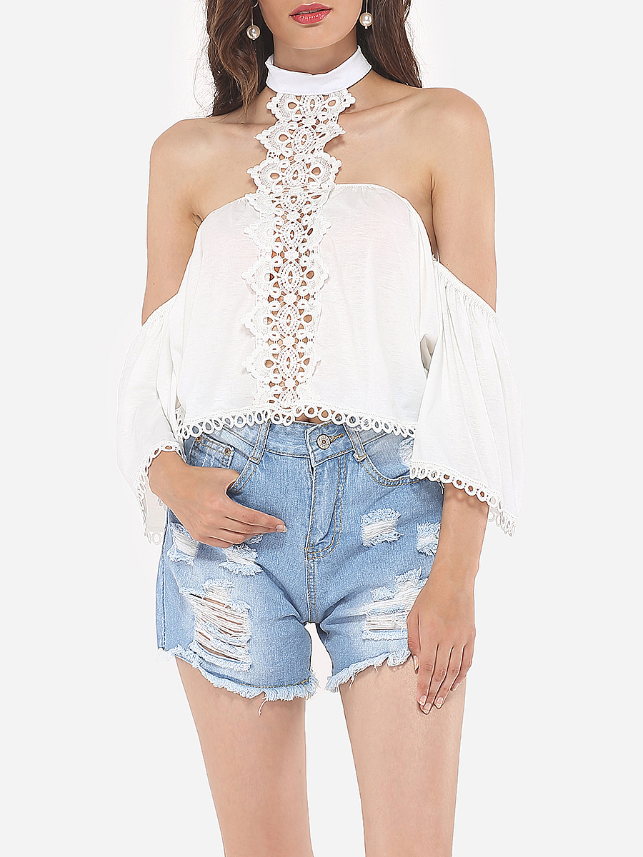 Hollow Out Patchwork Plain Loose Fitting Dramatic Awesome Halter Blouse