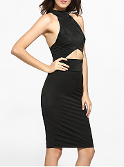 High Neck Dacron Hollow Out Plain Cocktail-dress