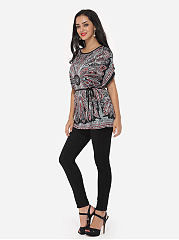 Autumn Spring Summer  Polyester  Women  Round Neck  Abstract Print  Batwing Sleeve Short Sleeve T-Shirts