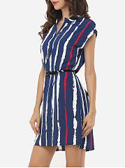 Stripes Batwing Elegant V Neck Skater-dress