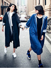 Denim Loose Trendy Hooded Trench Coats