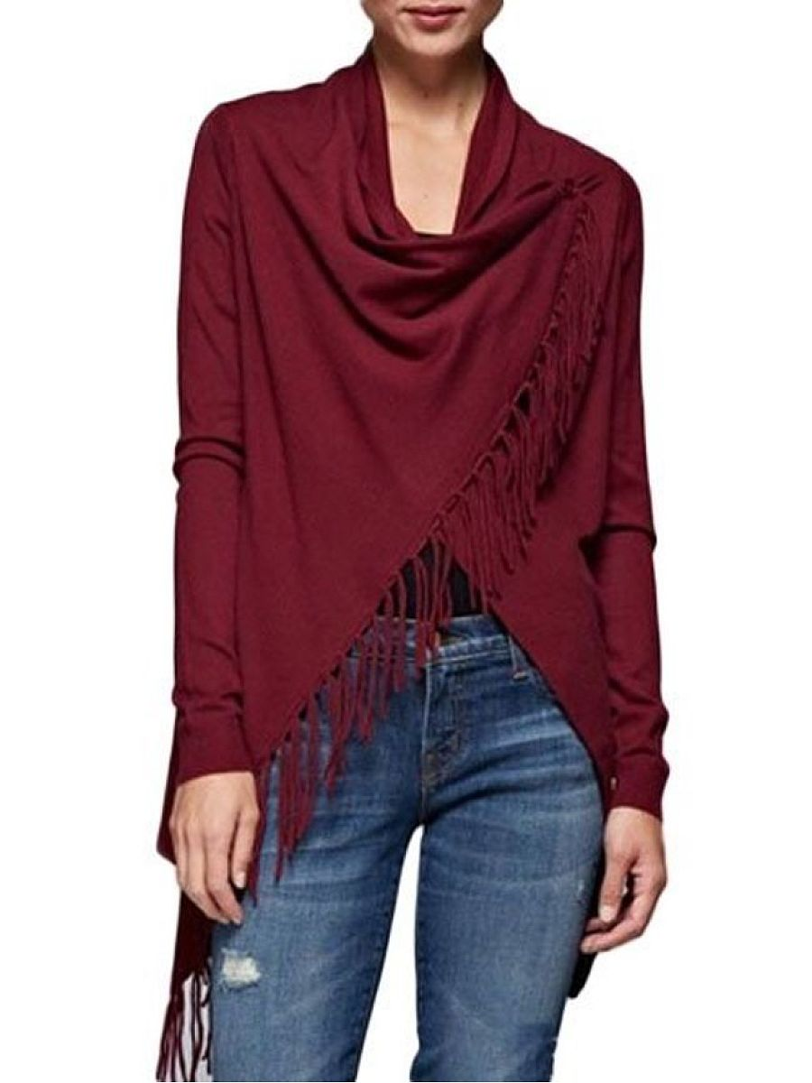 Plain Tassel Asymmetrical Hems Concise Collarless Cardigan