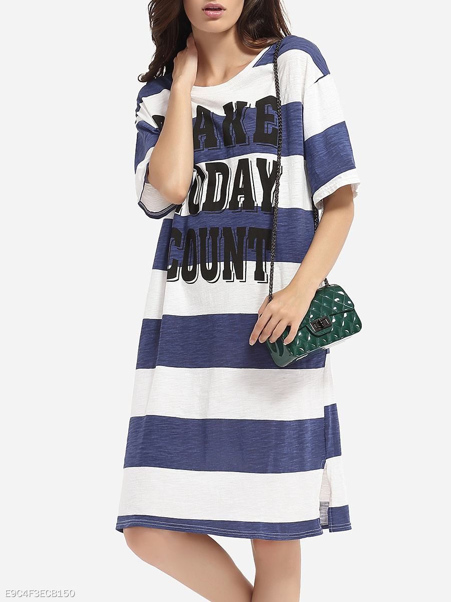 Loose Fitting Round Neck Cotton Color Block Letter Printed Stripes Shift-dress