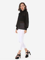 Hollow Out Plain Sexy Band Collar Blouse