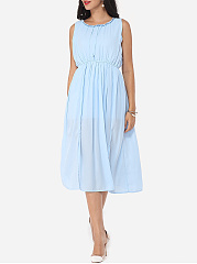 Hollow Out Plain Bowknot Courtly Round Neck Skater-dress