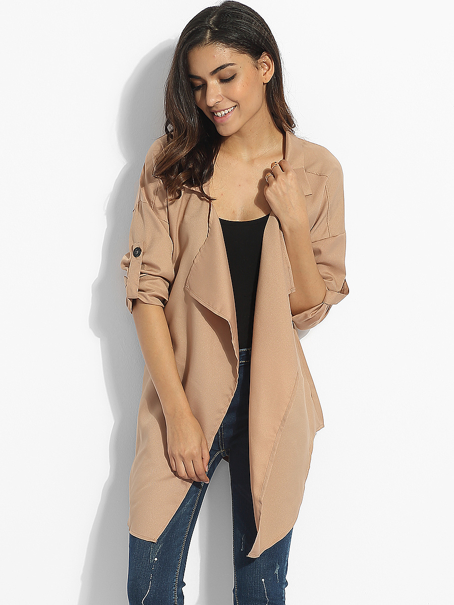 Asymmetrical Hems Lapel Dacron Plain Trench-Coats