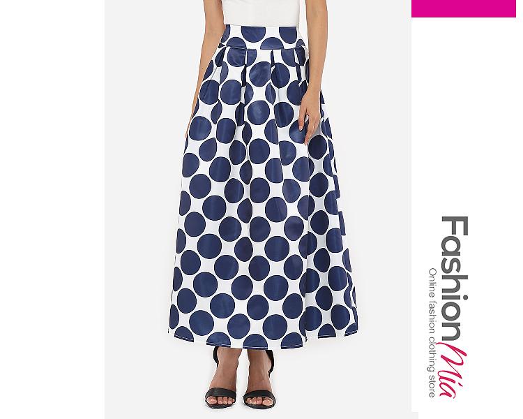 Image of Dacron Polka Dot Printed Maxi-skirt