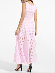 Pockets Round Neck Organza Hollow Out Plaid Plain Maxi Dress