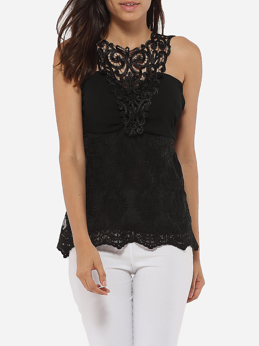 Crew Neck Lace Hollow Out Plain Sleeveless-T-Shirt