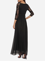 Round Neck See-Through Plain Evening Dress