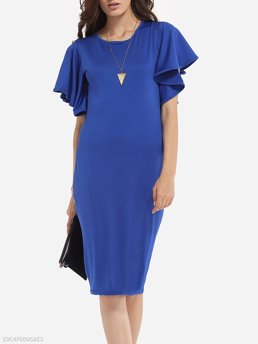 Cape Sleeve Round Neck Cotton Plain Bodycon-dress