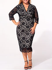 V Neck Lace Plain Scalloped Hem Plus-Size-Bodycon-Dress