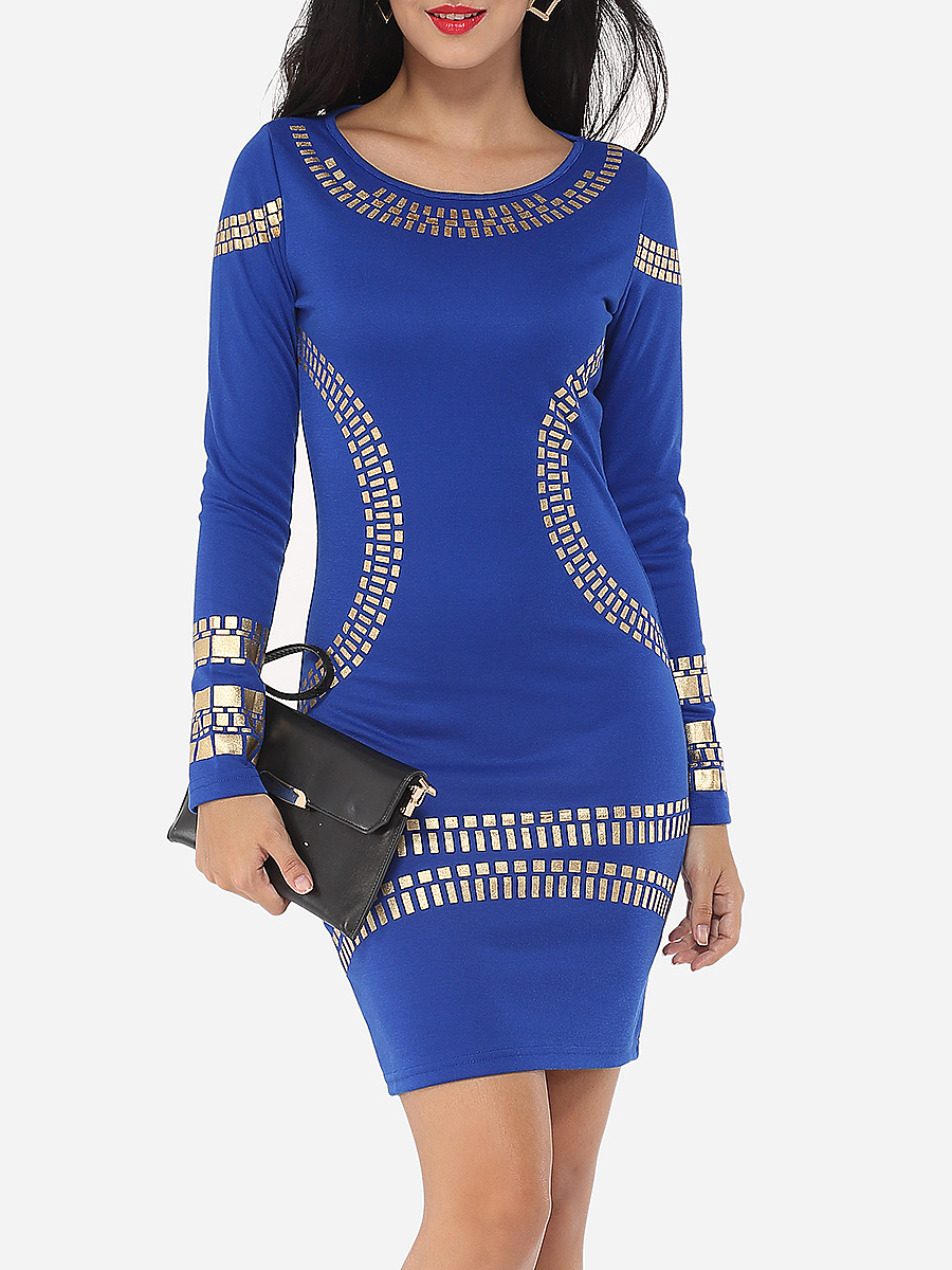 Printed Designed Round Neck Bodycon-Dress
