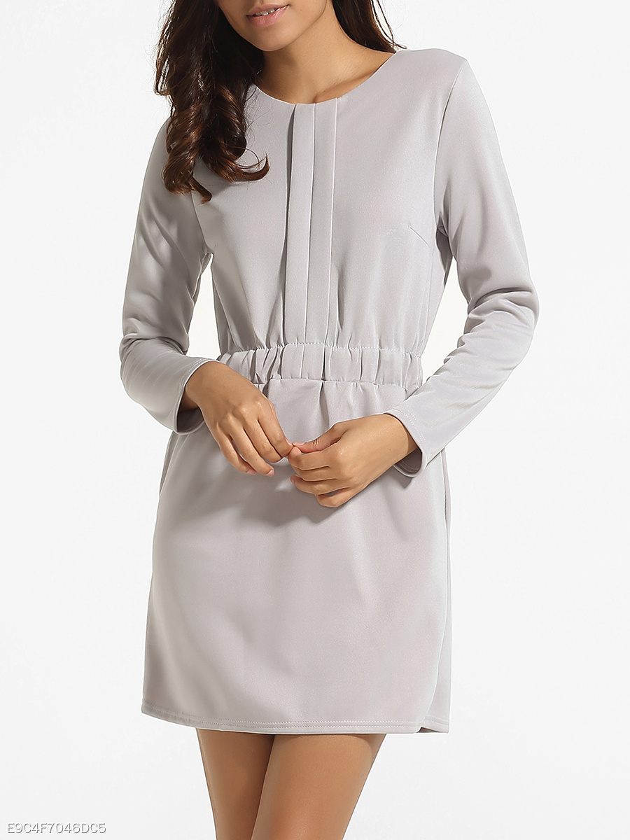 Pockets Single Button Round Neck Blended Plain Bodycon-dress