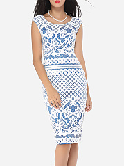 Round Neck Dacron Floral Lace Printed Bodycon Dress