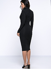 Sexy Black Lapel Patchwork Zips Bodycon Dress