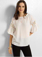 Round Neck Bell Sleeve Hollow Out Lace Plain Blouse