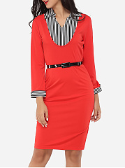V Neck Dacron Patchwork Stripes Bodycon-dress