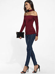Halter Off Shoulder Dacron Plain Long-Sleeve-T-Shirt