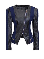 Collarless Leather Zips Patchwork Plus-size-jacket