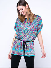 Spring Summer  Polyester  Women  Round Neck  Tribal Printed  Batwing Sleeve Short Sleeve T-Shirts
