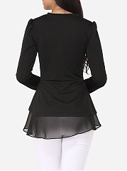 Autumn Spring  Polyester  Women  Round Neck  Flounce Patchwork  Plain  Long Sleeve Blouses