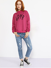Crew Neck Rib Knit Cuffs Letter Sweatshirt