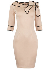 Vintage Bowknot Contrast Trim Bodycon Dress