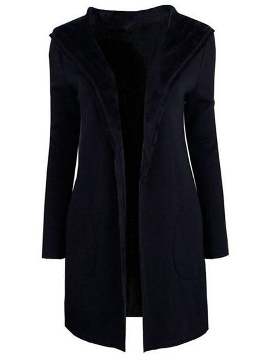Plain Admirable Concise Hooded Trench Coats