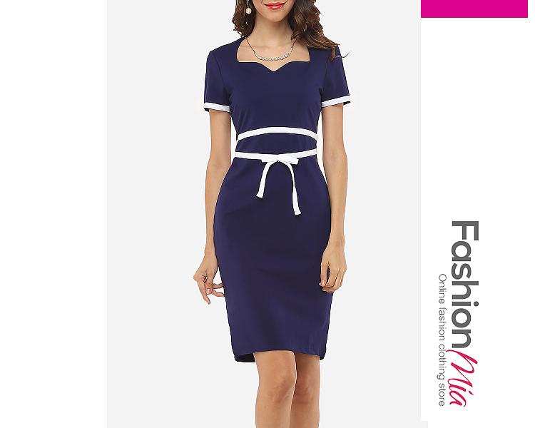 Image of Assorted Colors Bowknot Elegant Asymmetric Neckline Bodycon Dress