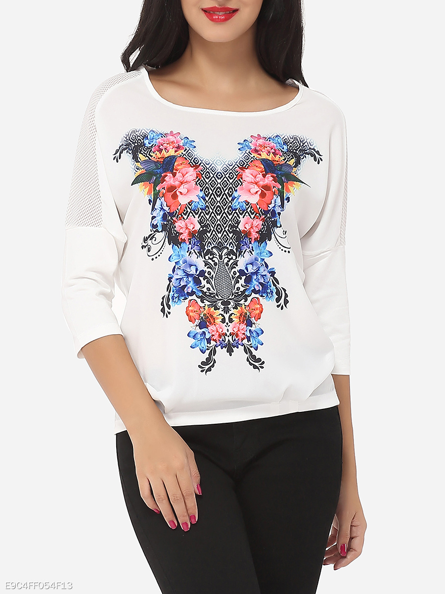 Mesh Patchwork Printed Glamorous Round Neck Long-sleeve-t-shirt