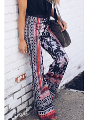 Wide Leg Floral Printed Pants