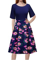 Round Neck Vintage Floral Printed Casual Swing Dress