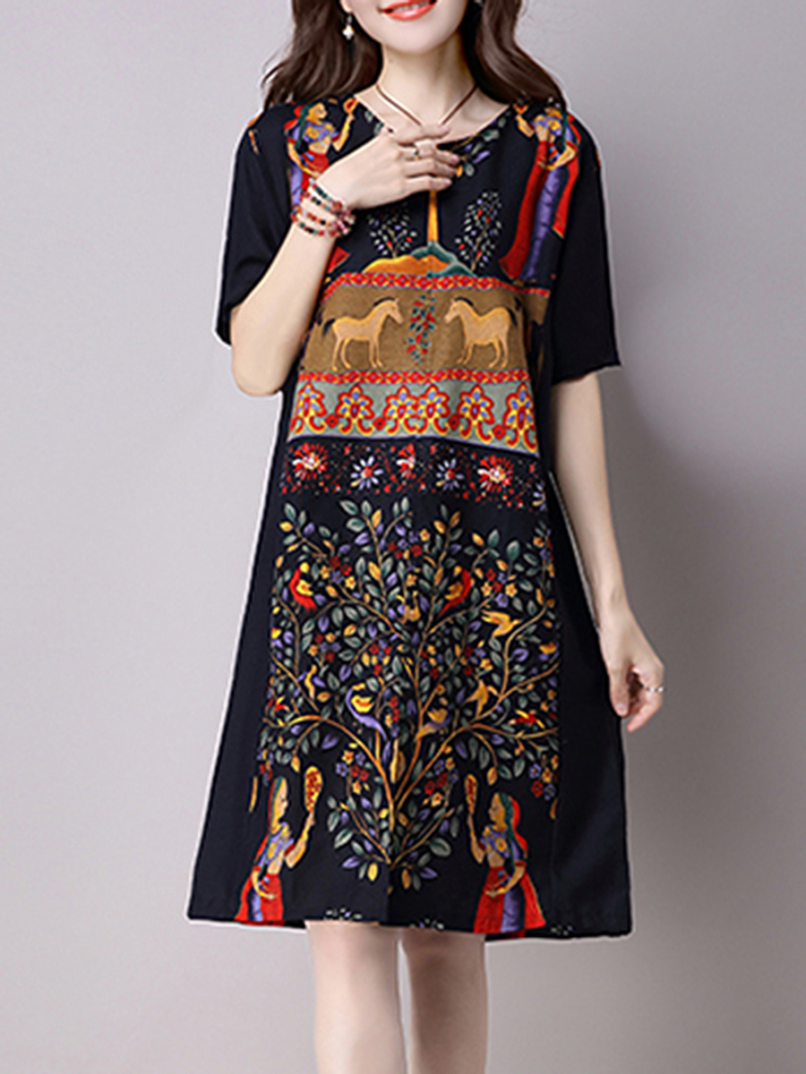 Split Neck Pocket Printed Plus Size Shift Dress