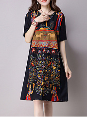 Split-Neck-Pocket-Printed-Plus-Size-Shift-Dress
