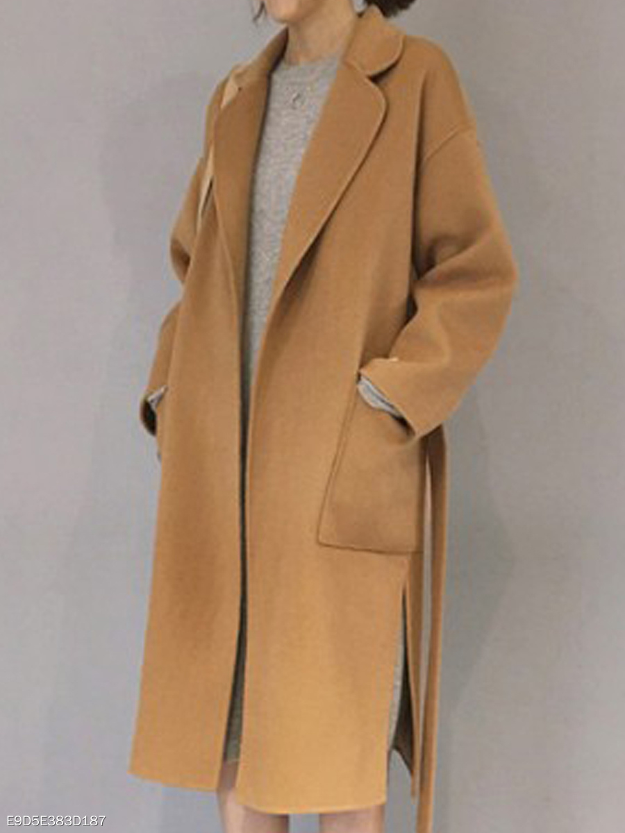 Lapel  Belt  Plain  Long Sleeve Coats