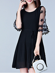 Round Neck  See-Through  Plain Shift Dress