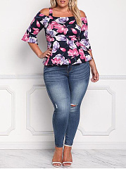Spaghetti Strap  Floral Printed  Half Sleeve Plus Size T-Shirts