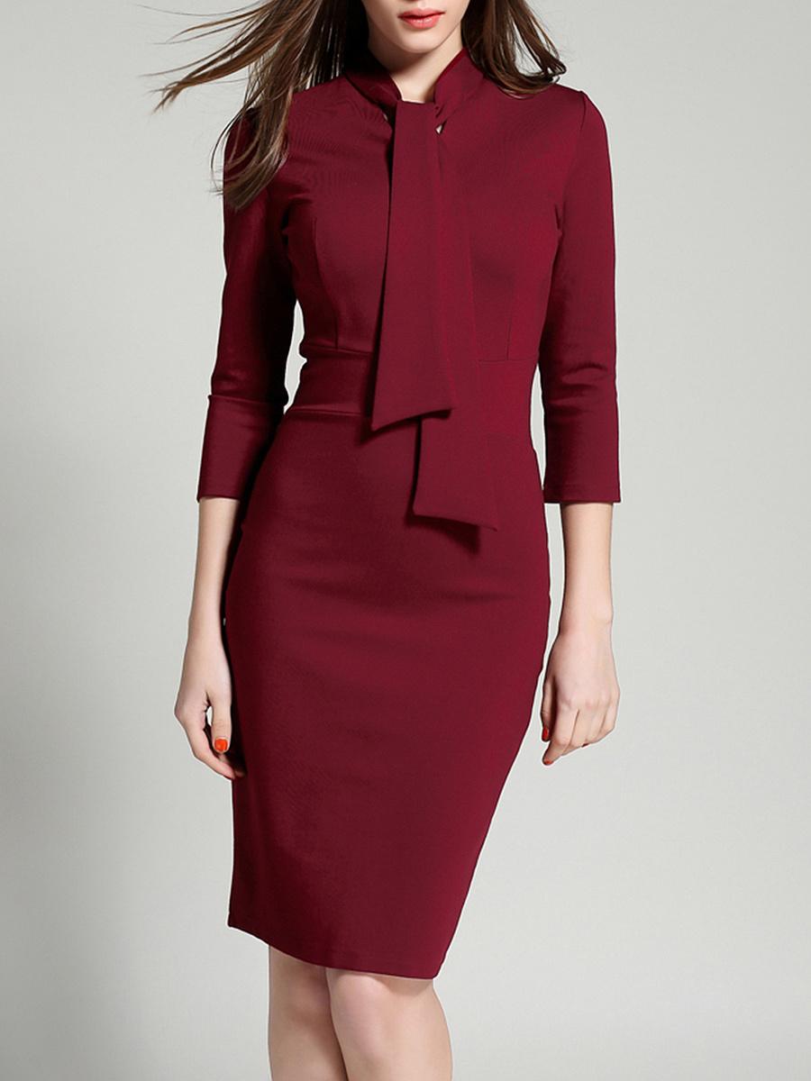 Women Office Tie Collar Plain Bodycon Dress