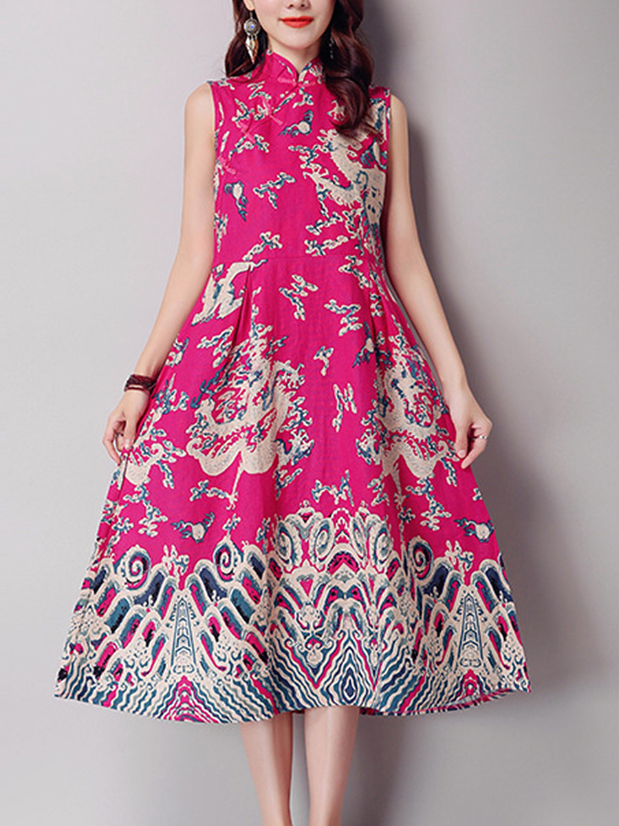 Band Collar Diagonal Buttons Ethnic Style Printed Maxi Dress
