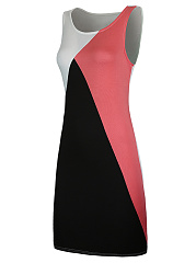 Color Block Sleeveless Round Neck Bodycon Dress