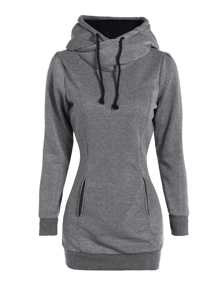 casual patch pocket plain autumn spring hoodies Patch Pocket  Plain  Long Sleeve Hoodies